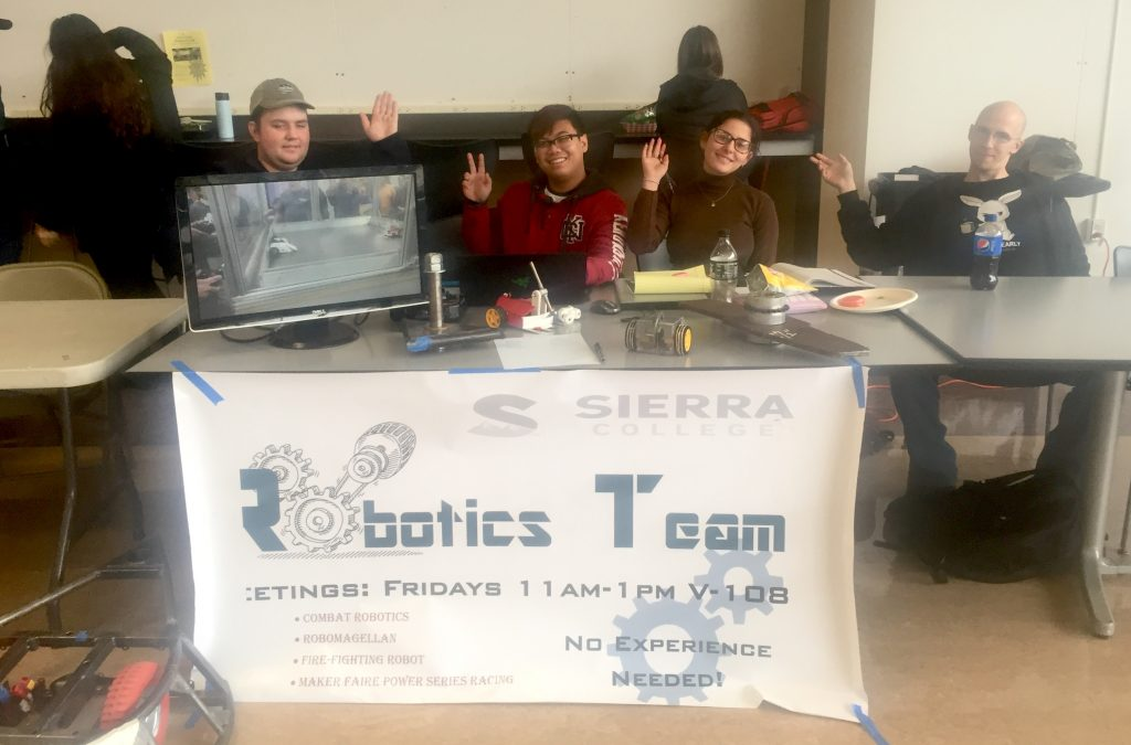 Robotics Team exhibited the 120 lb. combat bot and a 1-lb. bot during the Wolverine Week.